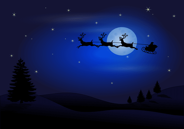 black and blue night sky with full moon and santa and sleigh with reindeer