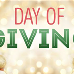 Day of Giving written in red and green with gold background