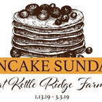 stack of pancakes with blueberries and words Kettle Ridge Pancake Sundays 2019