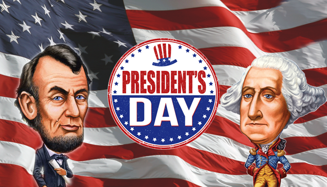 Presidents Day red white blue flag with caricature of washington and lincoln