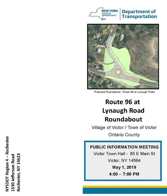 public info meeting flyer cover with drawing of proposed roundabout