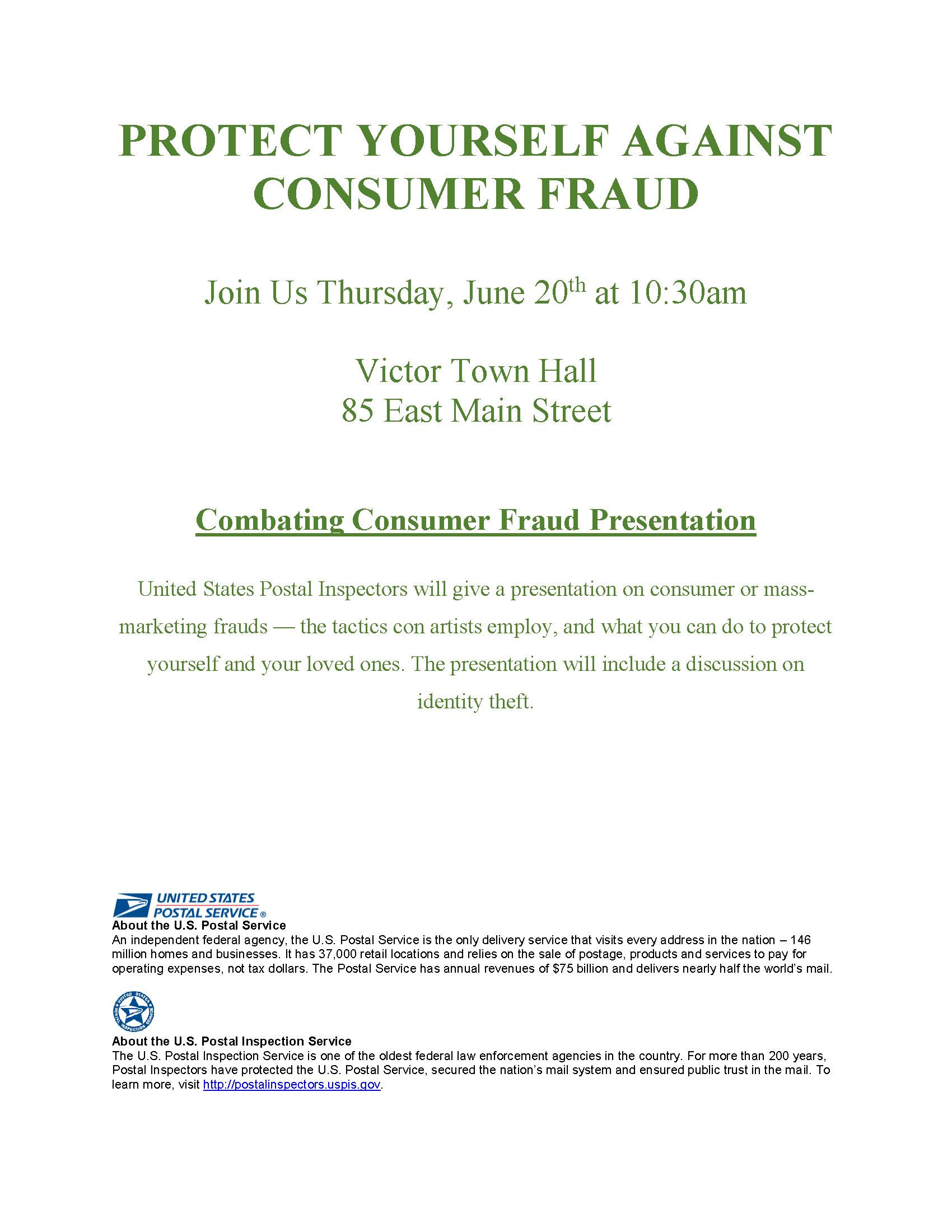 Combating Consumer Fraud flyer woth US Postal Service logo and US Postal Inspection Service logo