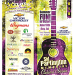 Sid Partington Concert flyer with green background and purple guitar and sponsor logos