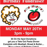 red and white flyer with otto tomottos tomato logo and mama cartoon