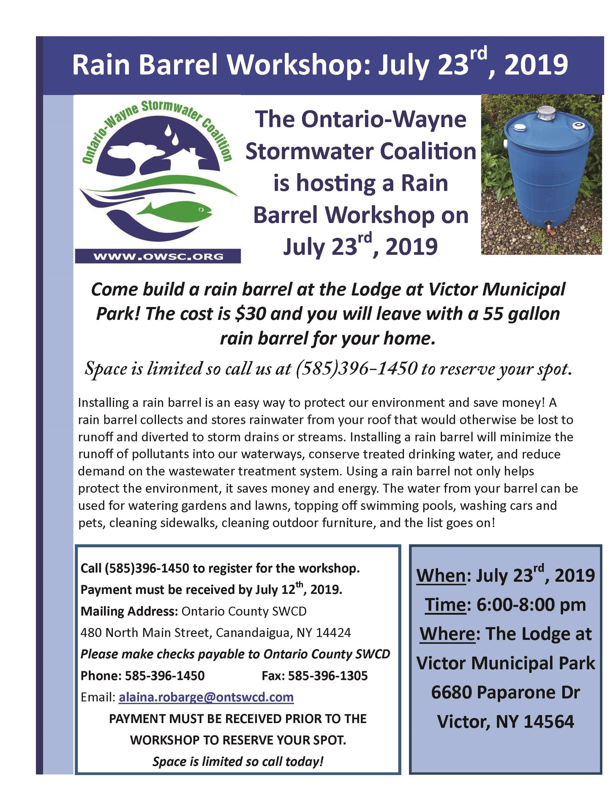 flyer for Rain Barrel Workshop on 07232019 with blue rain barrel