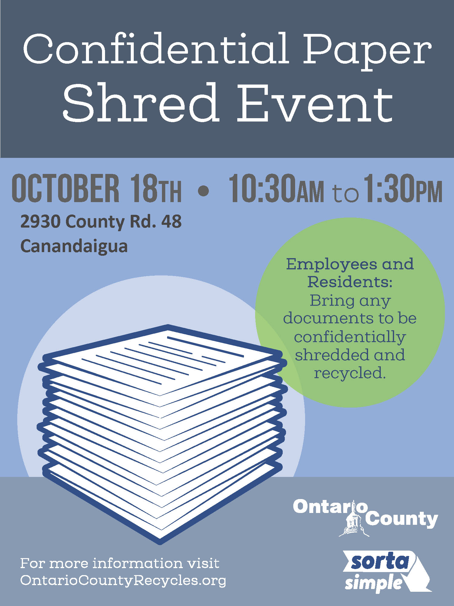 Shred Event Flyer 10182019 stack of papers