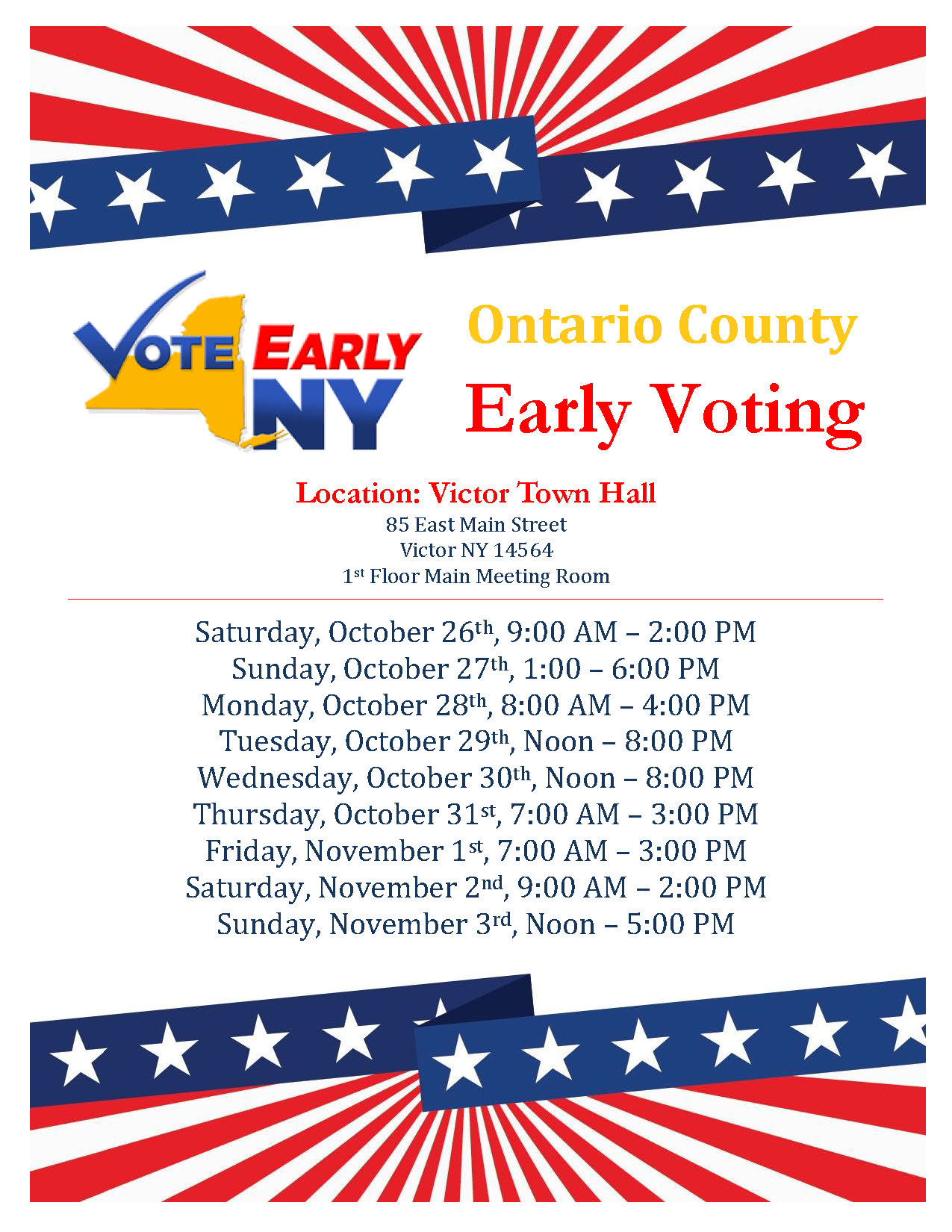 Early Voting Flyer 2019 vote early ny logo red white and blue stars and stripes