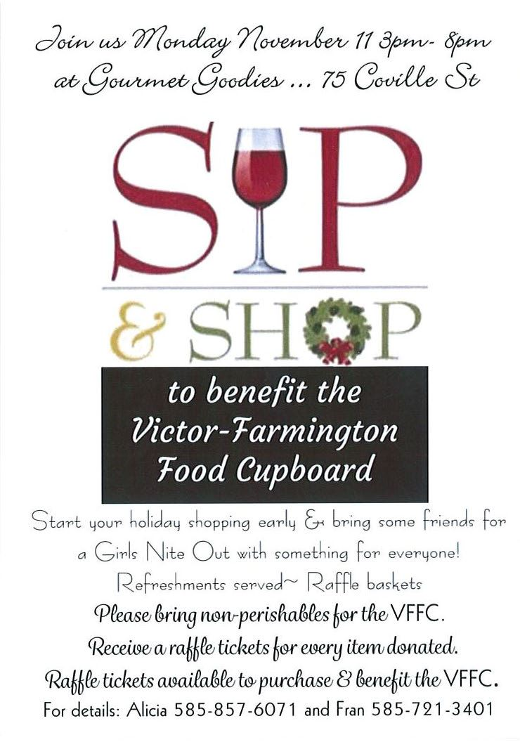 Sip and Shop flyer with wine glass and wreath