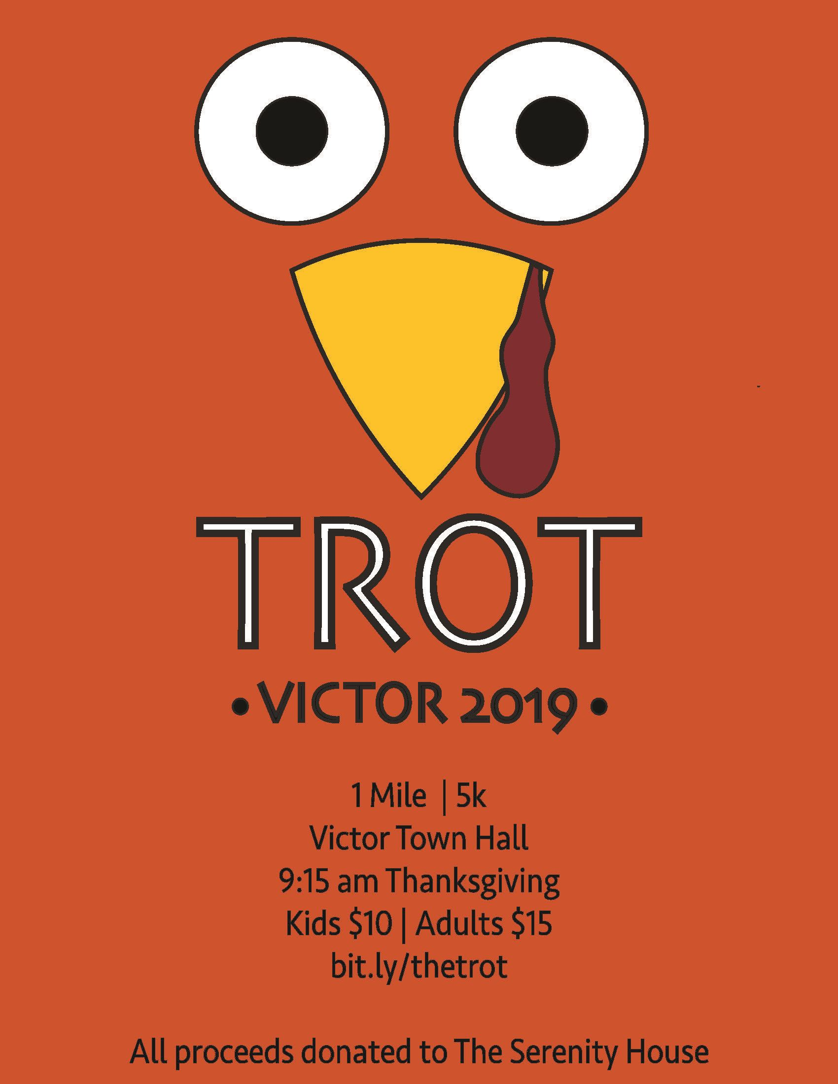 Turkey Trot 5K flyer orange background with two eyes and turkey beak