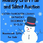 Craft Fair VFL flyer blue background with snowflakes and snowman