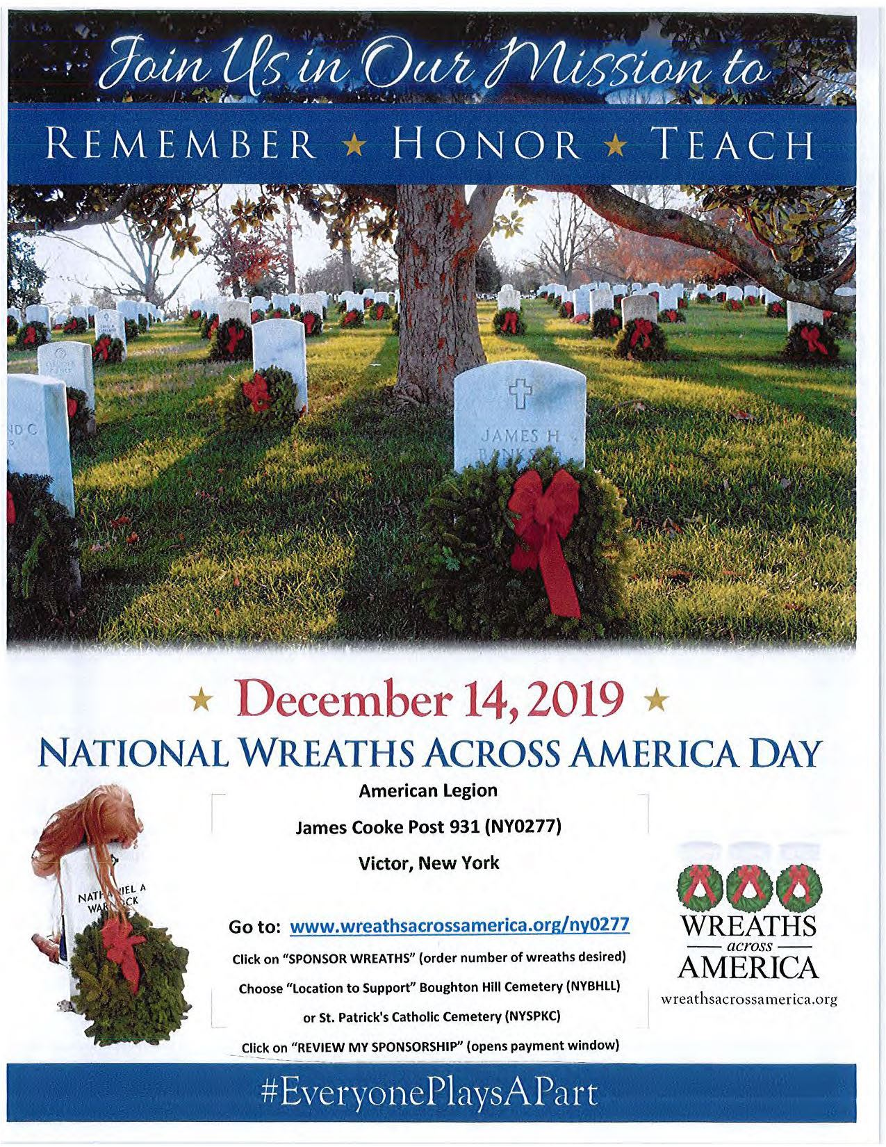 Wreaths Across America flyer cemetery headstones with wreaths
