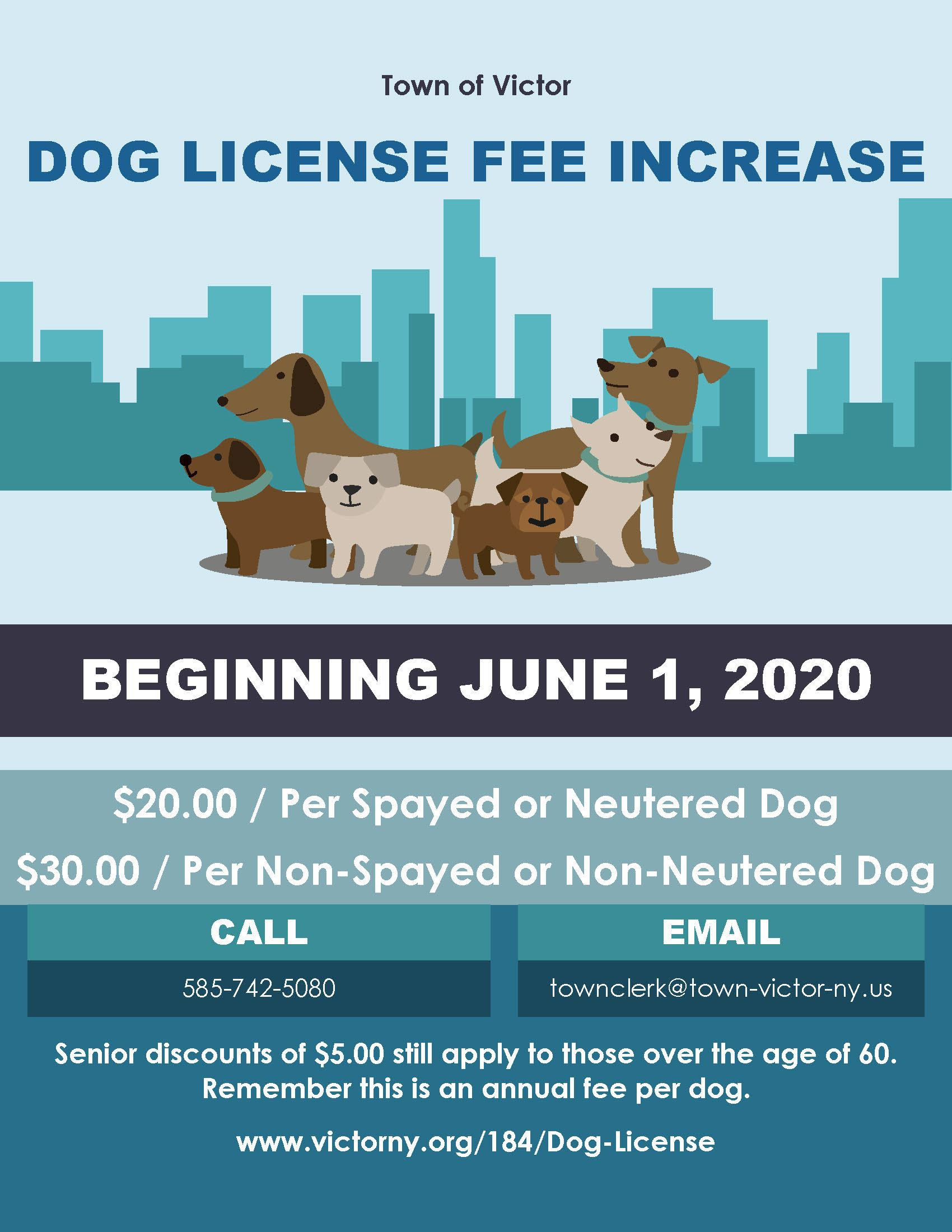 Dog License Fee Increase 06012020 blue background with cartoon dogs