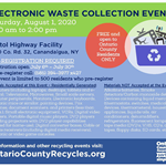 E-Waste Event flyer with blue recycle box and broken electronics