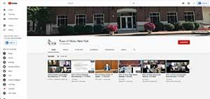 YouTube Picture Town of Victor Channel front of town hall and video thumbnails