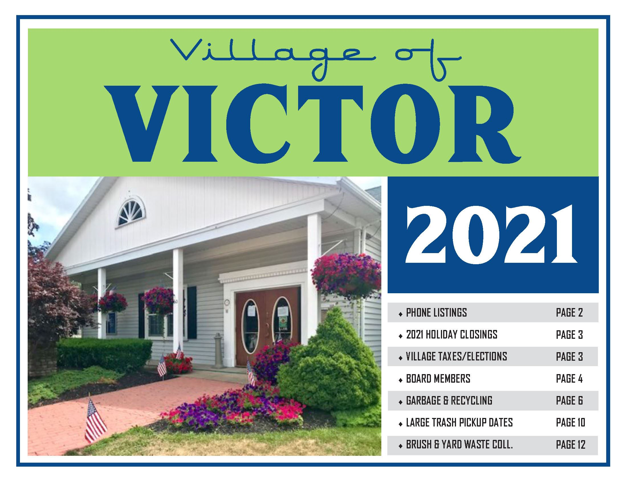 Village Calendar 2021 Cover picture of village hall with flowers