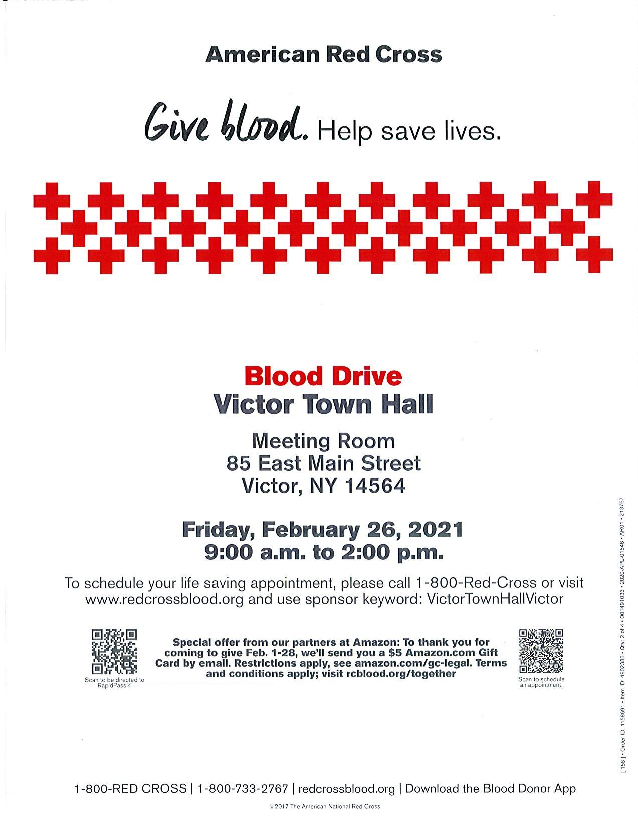 Blood Drive flyer text and red crosses