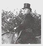 Frank Spring in top hat sitting on a horse