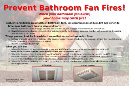 Fire prevention tips for bathroom fans